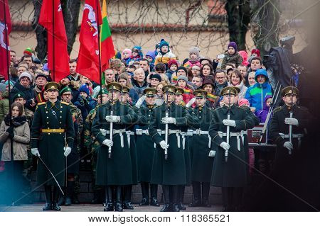 Soldiers From Lithuanian Military Forces Mount Guard Of Honour
