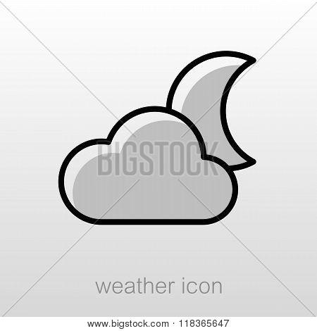 Cloud Moon Icon. Meteorology. Weather