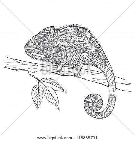 Zentangle Stylized Chameleon Lizard. Hand Drawn Vector Illustration In Doodle Style