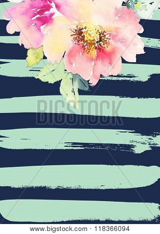 Greeting Card With Flowers.