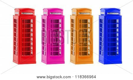 London colorful telephone boxes(souvenir) on white background
