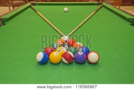 Closeup Of A Pool Table With Balls And Cues