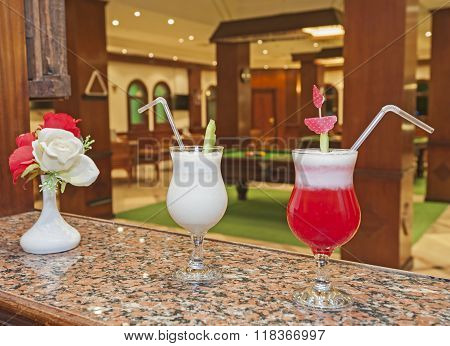 Cocktail Drinks On A Bar Counter