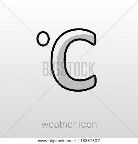 Degrees Celsius Icon. Meteorology. Weather