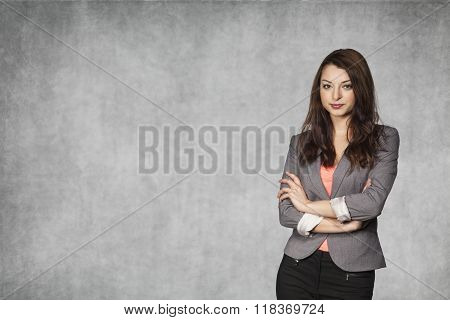 Young Business Woman And Space For Your Advertisement