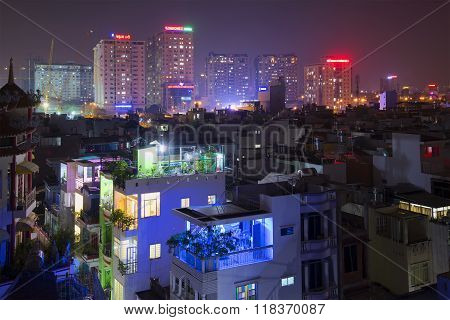 The fifth district Ho Chi Minh city at night. Vietnam