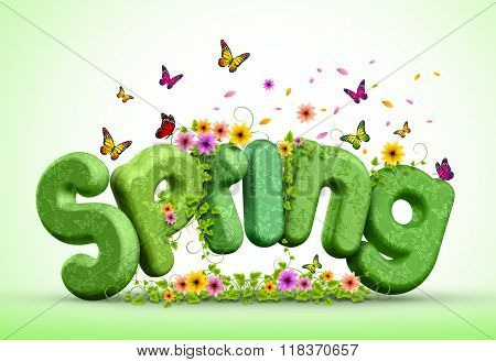 Spring 3D Rendered Text for Spring Poster Design