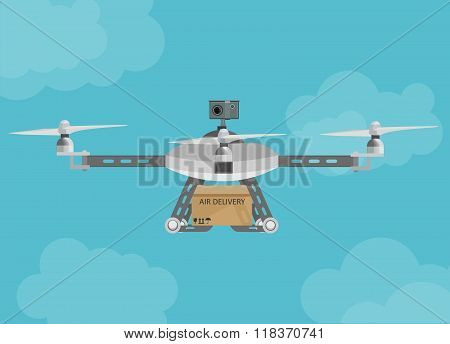 Remote air delivery drone with a box package flying in the sky.