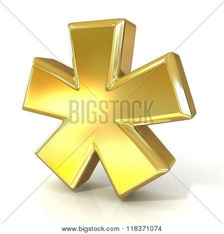 Asterisk mark 3D golden sign