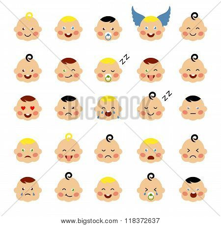 Set of cute baby emoticons.