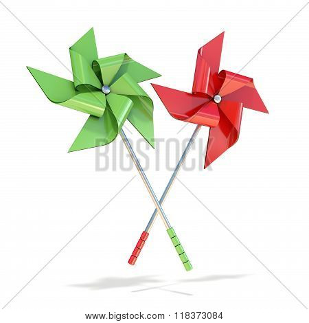 Red and green pinwheels. 3D