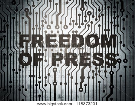 Political concept: circuit board with Freedom Of Press
