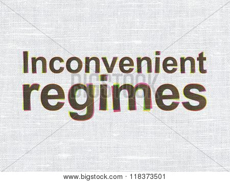 Politics concept: Inconvenient Regimes on fabric texture background