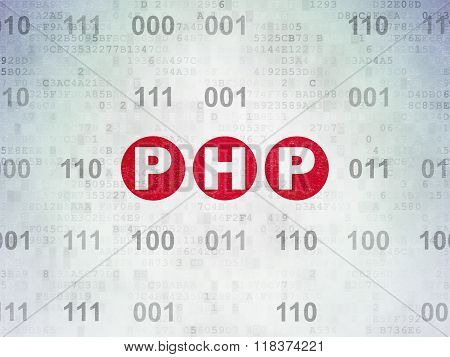 Software concept: Php on Digital Paper background