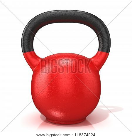 Red kettle bell weight isolated on a white background. 3D