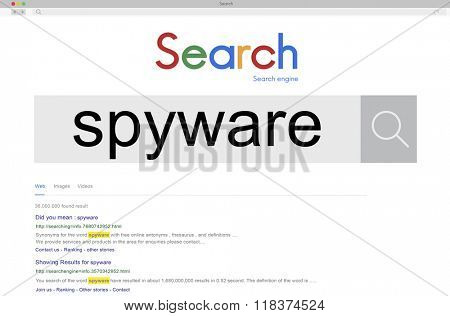 Spyware Virus Malware Spam Hacking Security System Concept