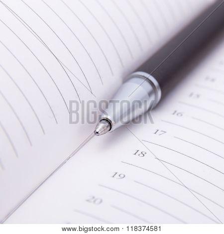 Ballpoint pen on notebook