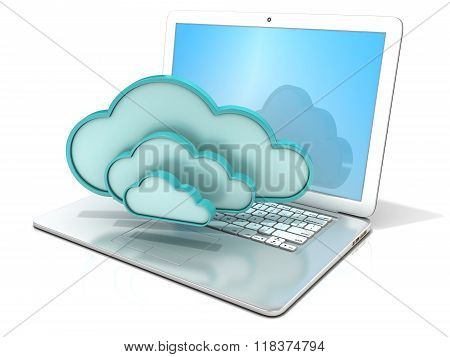 Laptop with clouds 3D computer icon. 3D rendering - concept of cloud computing