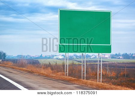 Blank Traffic Road Sign By The Roadway
