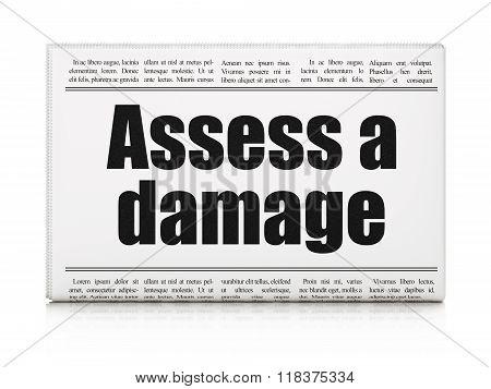 Insurance concept: newspaper headline Assess A Damage