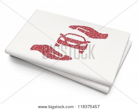 Insurance concept: Car And Palm on Blank Newspaper background