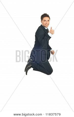 Business Man  Jump And Gives Thumbs
