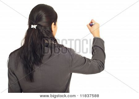 Rear View Of Corporate Woman Write On Copy