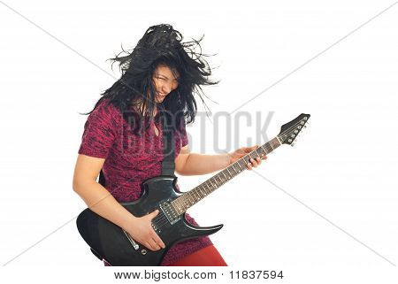 Laughing Guitarist Woman In Motion