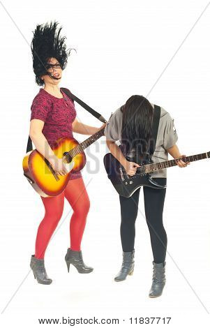 Band Of Girls With Guitars In Motion