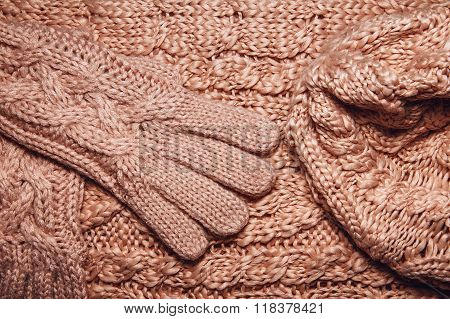 Set Of Wool Sweater Or Scarf, Hat And Gloves Texture Close Up