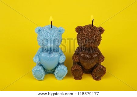 Colorful Handmade Candles In The Shape Of Teddy-bear