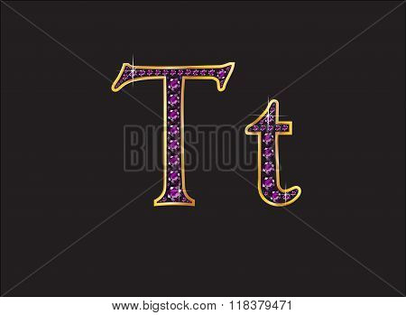 Tt Amethyst Jeweled Font With Gold Channels