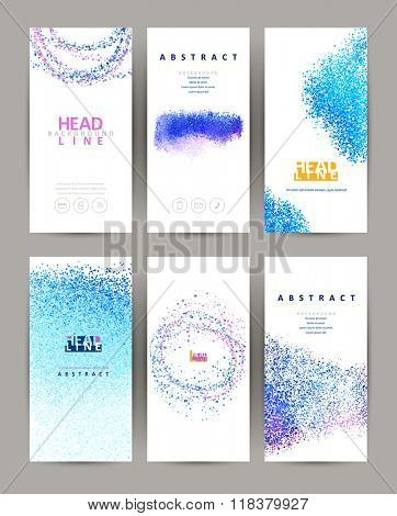 six elegant banners with light blue and purple design composition