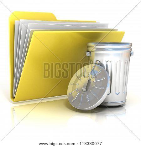 Open steel trash can folder icon 3D