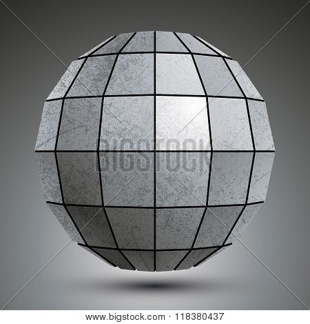 Zinc Facet Dimensional Globe Created With Squares, Grunge Abstract Object.