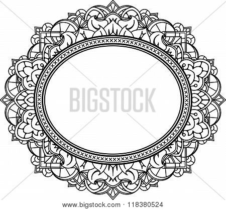 Rich Decorated Oval Frame Pattern. Vector Decorative Background In Ethnic Indian Style For Coloring
