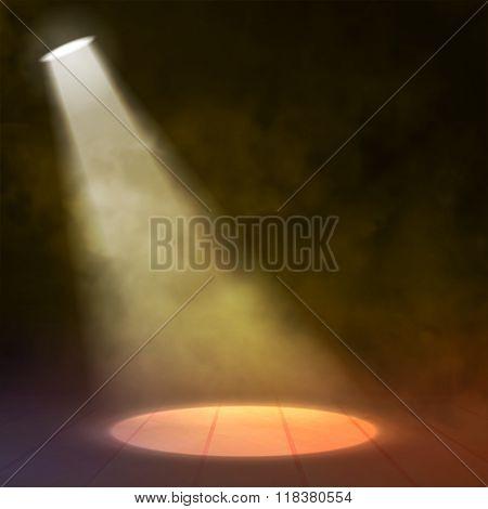 Floodlight Spotlight illuminates wooden scene with circle. Vector illustartion.