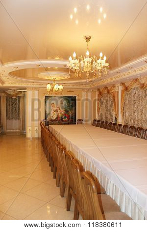 Graceful Interior In Restaurant Banquet Hall In Chernihiv