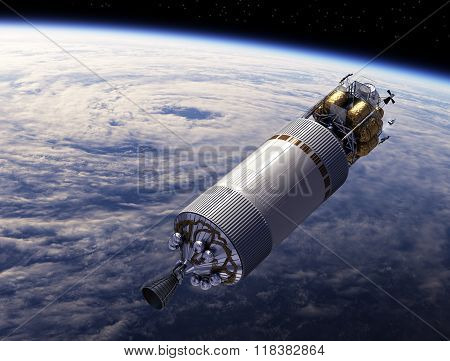 Spaceship Orbiting Earth. 3D Scene