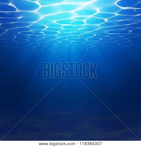 Abstract Underwater background illustration with water waves. Blue underworld realistic backdrop. Oc