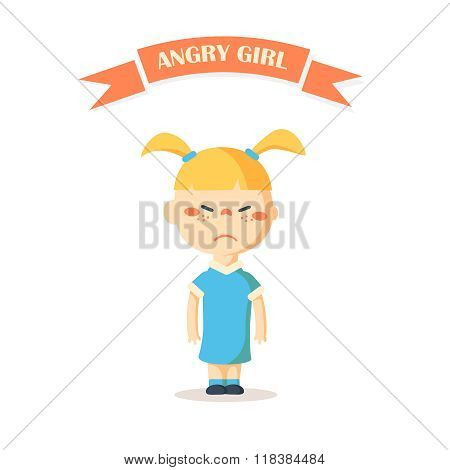 Little cartoon angry girl vector illustration.