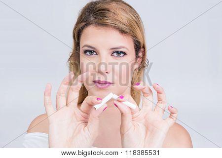 Woman quits smoking