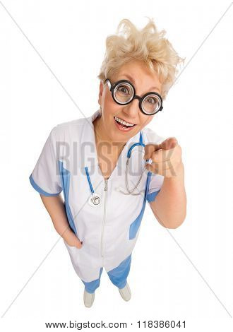 Funny mature doctor with nerd glasses isolated