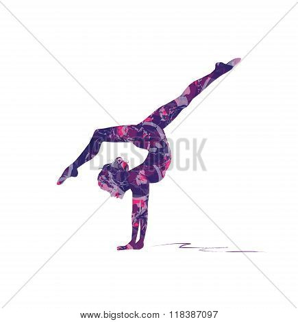 abstract silhouette of girl who practice gymnastics