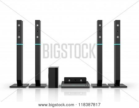 Home Stereo Surround In Black Isolated On White