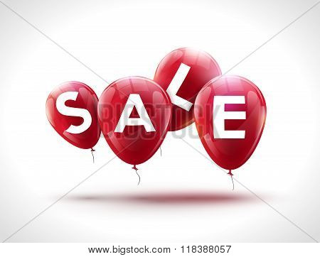 Flying balloons, concept of SALE for shops. Four red flying party balloons with text SALE. Sale disc