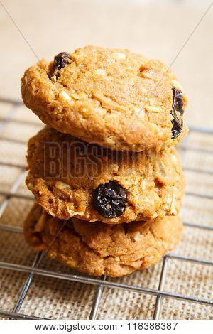 Oatmeal raisin cookies, homemade.