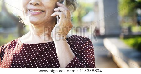 Mobility Senior Adult Online Calling Concept