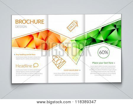 Tri-fold modern brochure design template with trendy polygonal background orange green on white