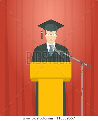 Graduation Ceremony Speech By A Man Graduate At The Podium